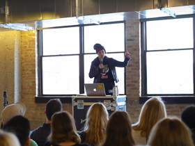 Artist Cheryl Pope at 62nd monthly CreativeMornings in Chicago