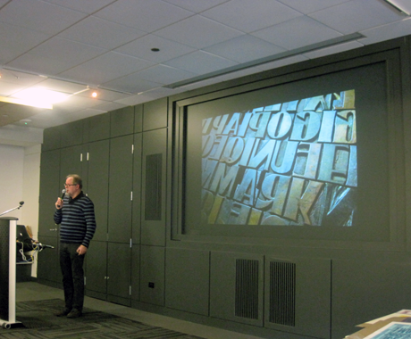 Hamilton Wood Type Museum's Director Jim Moran at 39th gathering of CreativeMornings in Chicago