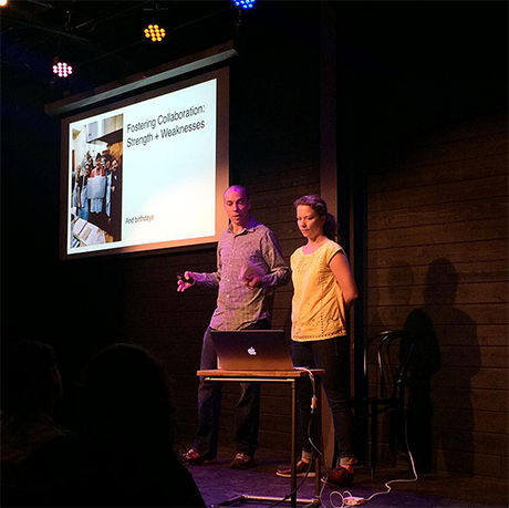 Baking collaboration: Sandra and Mathieu Holl at the 43rd gathering of CreativeMornings in Chicago